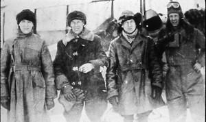 Jack Elliot, Bill Hodgins, Harold Farrington & Howard Watt at Hudson, Ontario, March 1926. (Photo: Western Canada Pictorial Index #1176)