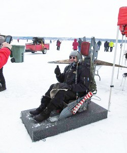 Mo Baril checks out an ejection seat from the Canada Aviation and Space Museum. (Photo: Diana Trafford)