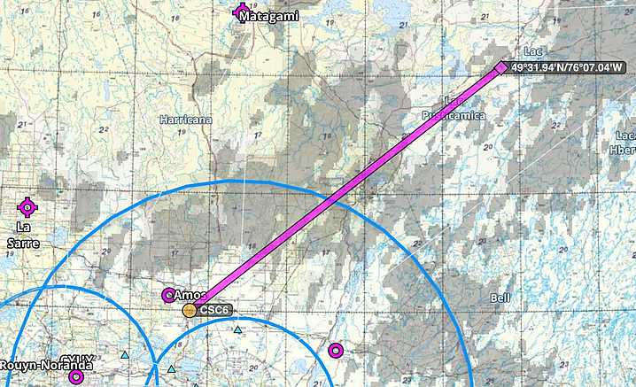 Credit: Map courtesy of Con Campbell. Air route to Bachelor Lake from Amos, Québec.