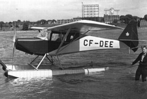 "Photo: Canada Aviation and Space Museum #14450. CF-DEE – a two-seater Fleet 80 ""Canuck"" – on floats. (The original Fleet float design is shown here.)"